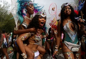 Participants walk in the annual West Indian day parade in Brooklyn.