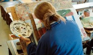 A secondary school pupil in an art class