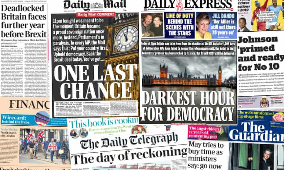 Front pages of the UK pages on Friday 29 March, 2019, as the intended deadline for Brexit looms.
