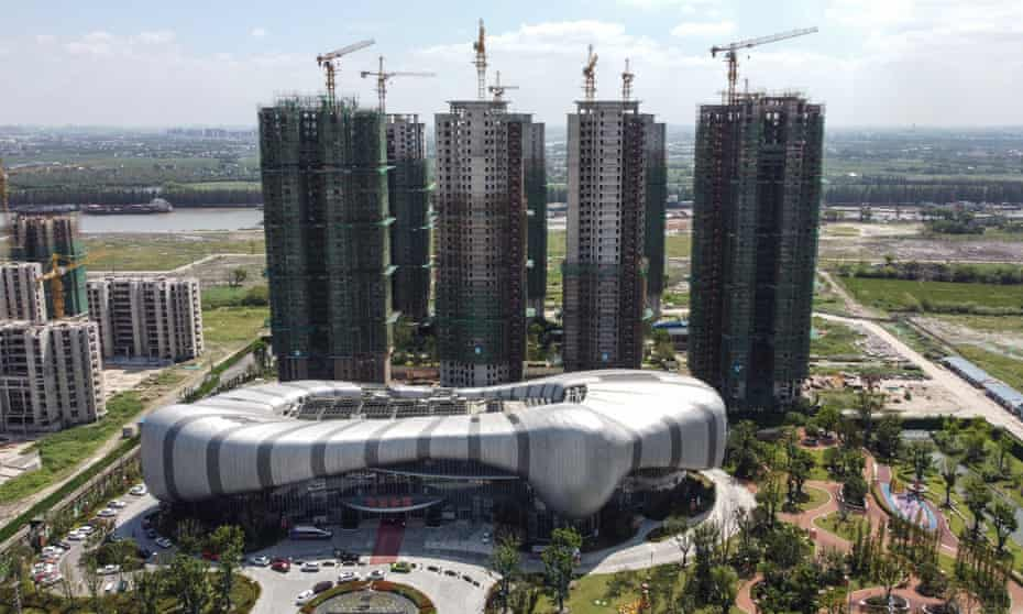 Halted construction of Evergrande's Cultural Tourism City in Suzhou, China.