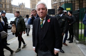 John Bercow leaves a service of remembrance in Westminster in 2018