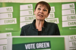 Caroline Lucas MP speaks at the launch of the Green Party's European Election Campaign on May 8, 2019 in London, England.