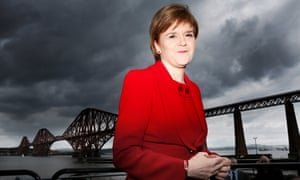 Nicola Sturgeon in South Queensferry in the shadow of the Forth Rail Bridge