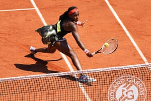 Coco Gauff plays a return to Tunisia's Ons Jabeur.