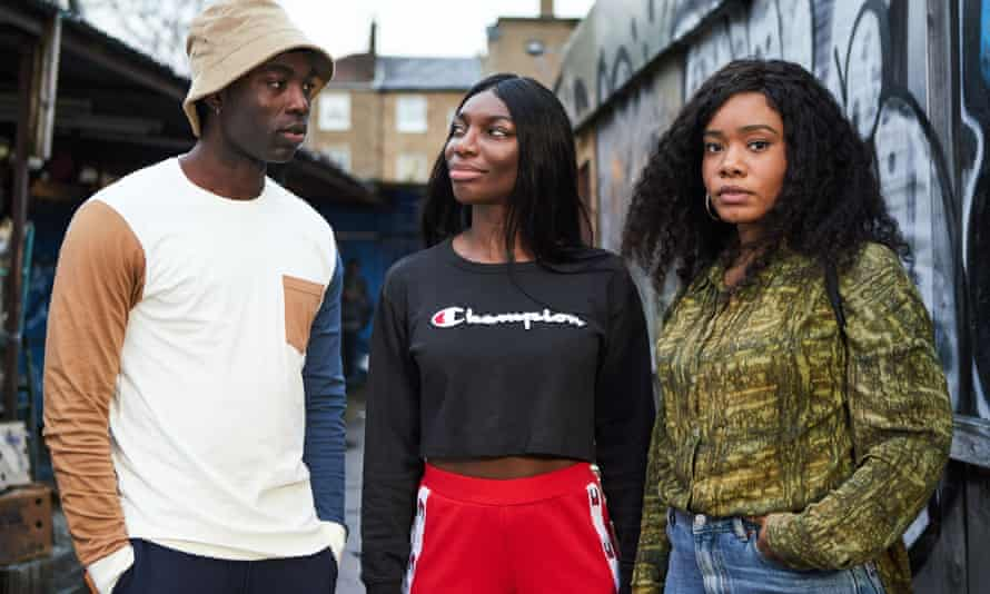 Paapa Essiedu as Kwame, Michaela Coel as Arabella and Weruche Opia as Terry in I May Destroy You.
