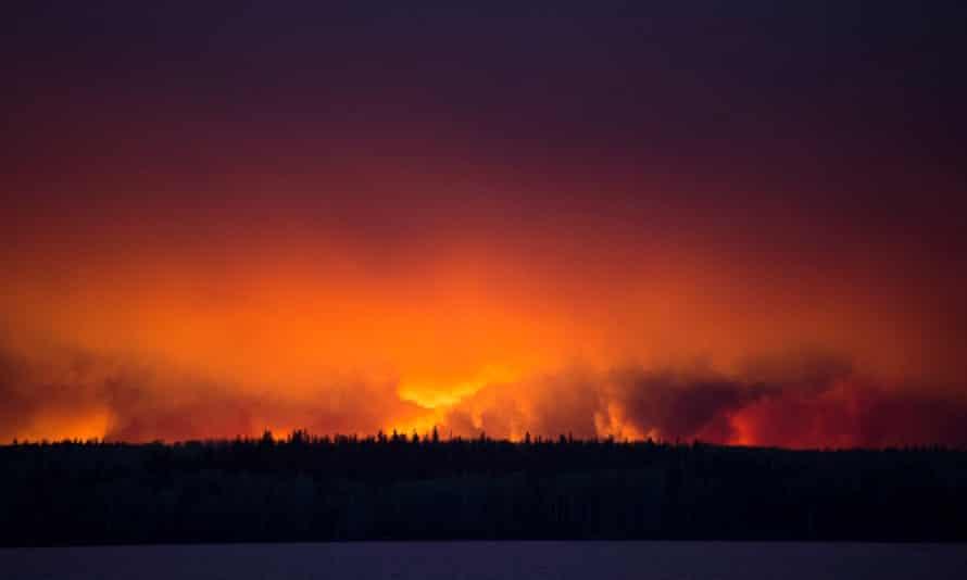 A huge wildfire raging near Anzac, Alberta.
