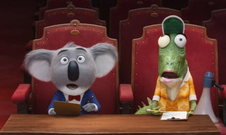 Matthew McConaughey voices koala bear Buster Moon (left) in Sing