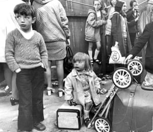 Catholic children being evacuated from Belfast to Dublin in 1972.