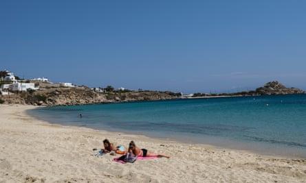 Platis Gialos Beach in Mykonos, Greece