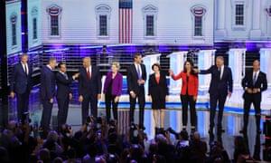 Ten Democratic presidential candidates take part in the first night of the Democratic presidential debate in Miami, Florida.