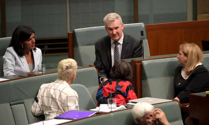 Tony Burke speaks to independent MPs Julia Banks, Kerryn Phelps, Cathy McGowan and Rebekha Sharkie in the parliament