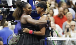 Naomi Osaka and Serena Williams meet at the net after last year's US Open final