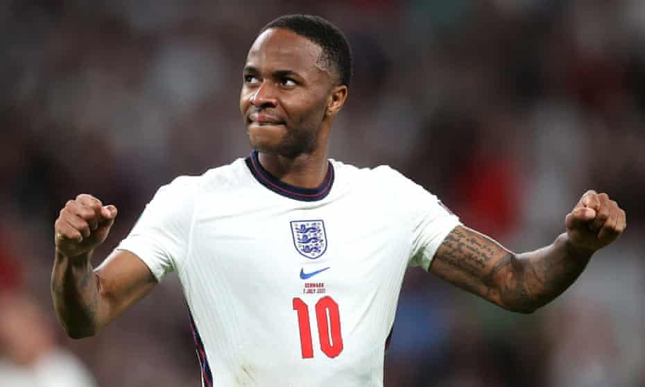 Raheem Sterling enjoys England's Euro 2020 semi-final win against Denmark at Wembley.