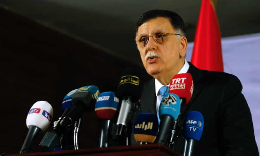 Fayez al-Sarraj, prime minister of the Government of National Accord of Libya, speaks to the media on Sunday