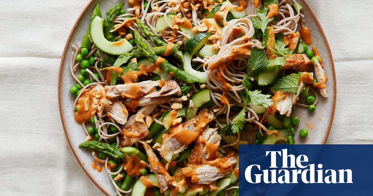 Thomasina Miers' recipe for chicken and asparagus salad with peanut dressing