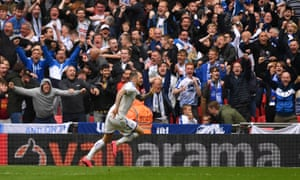 James Norwood celebrates scoring Tranmere's winner.