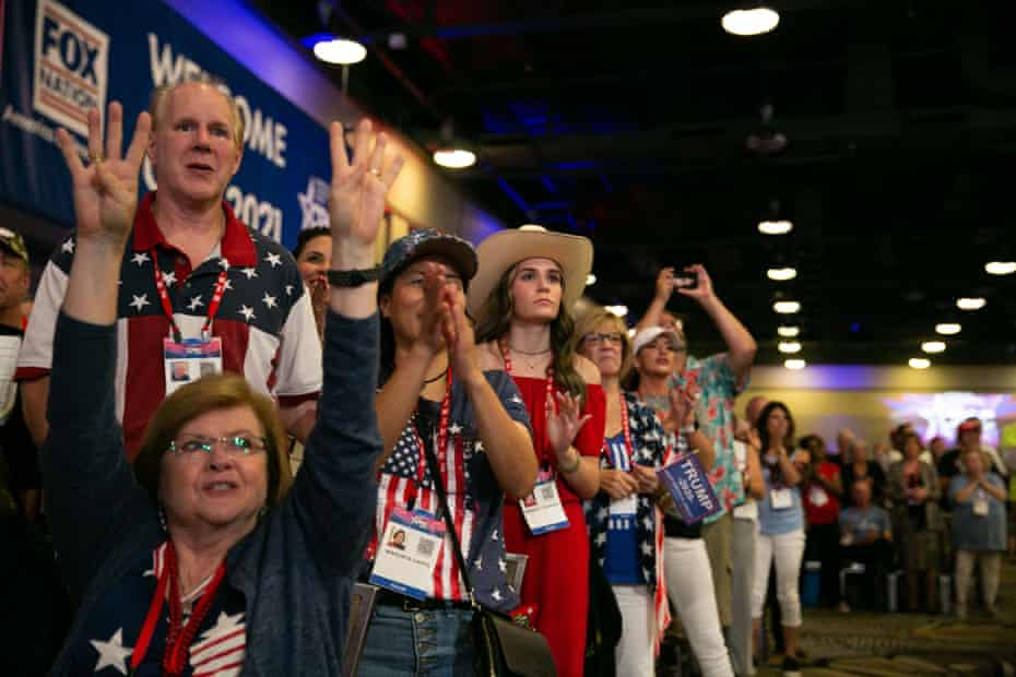 Supporters cheer as Donald Trump speaks at the Conservative Political Action Conference (CPAC) in Dallas, Texas, 11 July.