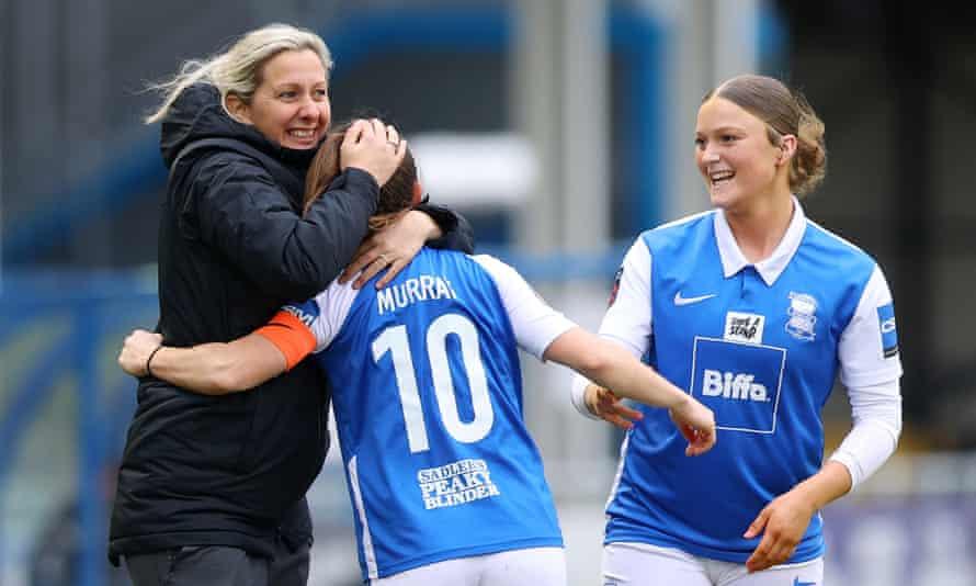 Birmingham City's manager, Carla Ward, celebrates Christie Murray's goal against Bristol City last month.