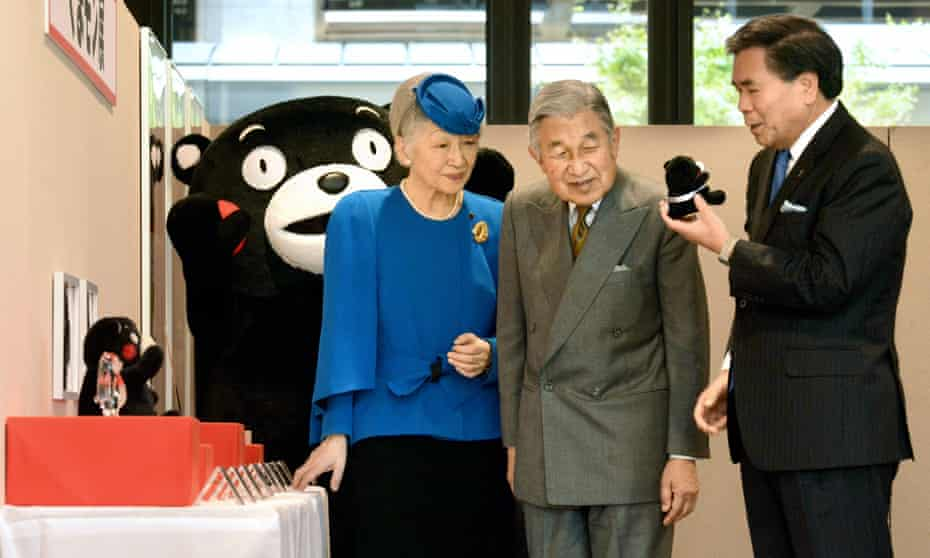 Empress Michiko (pictured with Emperor Akihoto and Kumamoto's governor) asked whether Kumamon was single, in 2013