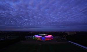 The Olympic Stadium's rainbow display.