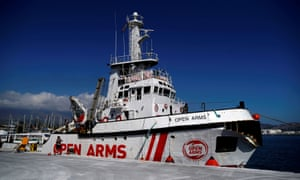 The Proactiva Open Arms rescue ship in Motril port, southern Spain