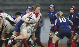 Catherine Spencer, in her playing days for England, takes on the France backline in 2006.