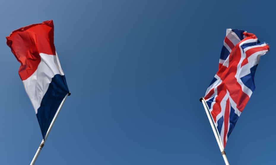 French flag and Union Jack flying separately
