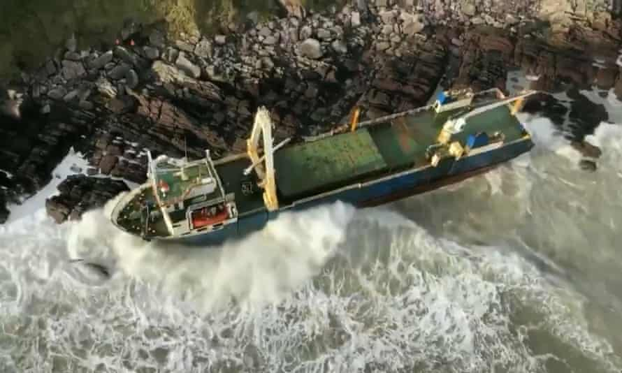 Coast Guard image of the MV Alta after it was blown on to rocks during Storm Dennis.