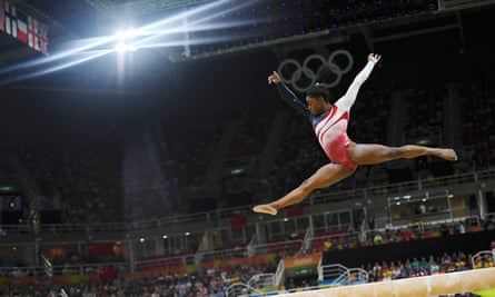 Simone Biles on the beam in the women's team final at Rio.