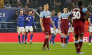 Leicester City's Ayoze Perez (second left) celebrates scoring their fourth goal.