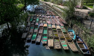 Punts are moored together in Oxford during the lockdown.