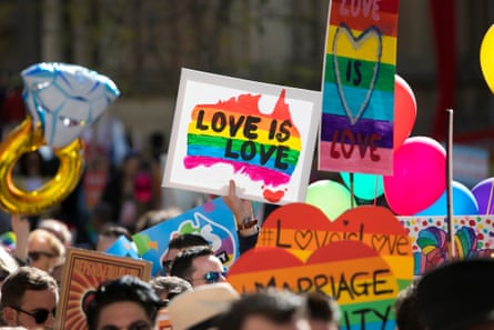 The rally in favour marriage equality in Sydney. Australian prime minister Malcolm Turnbull has thrown his support behind a 'yes' vote in the postal survey.