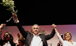 Turkish Cypriot newly elected leader Mustafa Akinci with his wife Miral