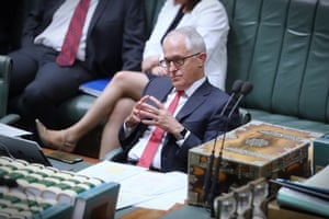 The Prime Minister Malcolm Turnbull during debate in the house this afternoon