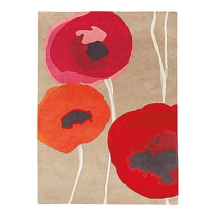 rug with poppy design, red, yellow, pink, black, beige