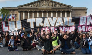 Nuit debout protesters outside the French parliament in Paris