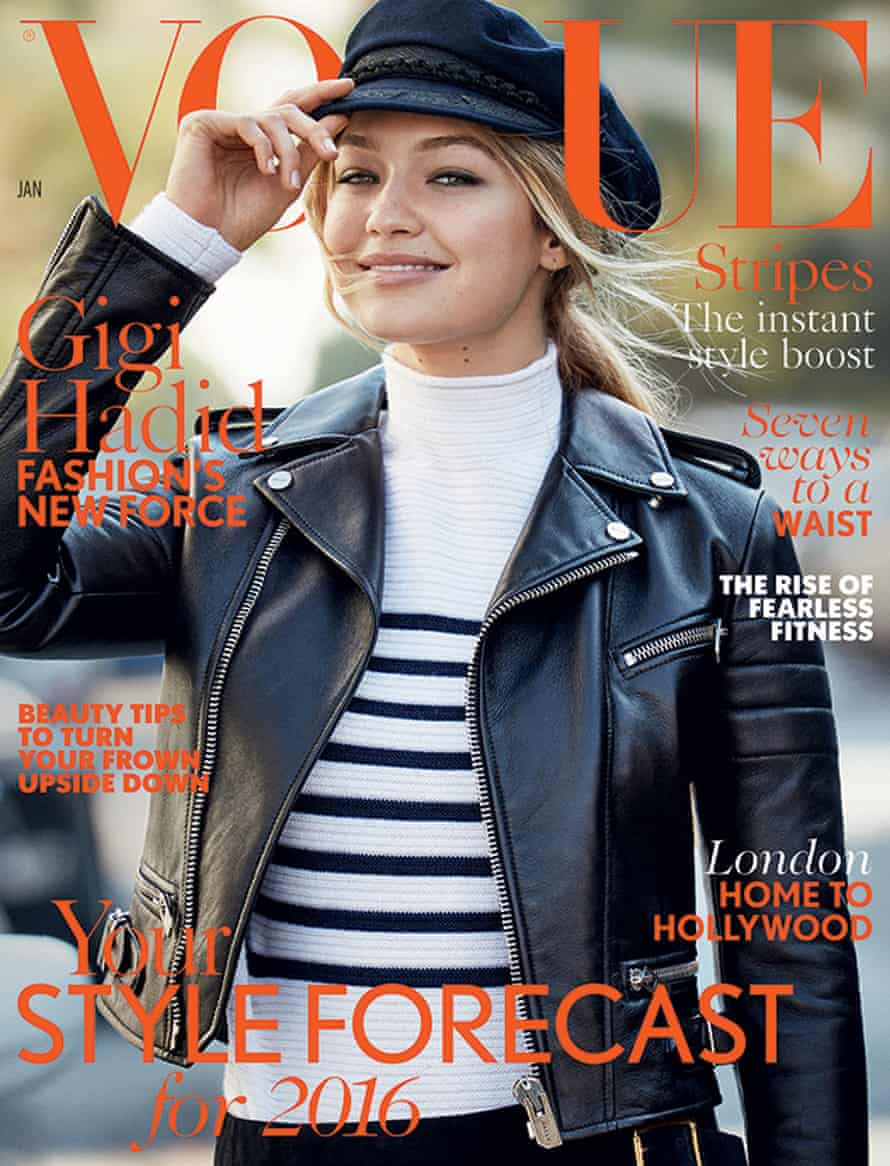 Gigi Hadid as a modern Brando on the cover of January's Vogue.