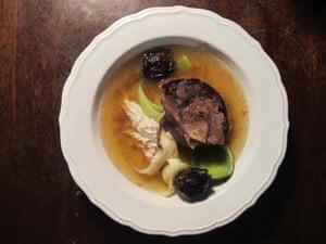 Jane Grigson's cock-a-leekie soup