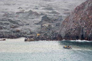 Elite soldiers take part in a mission to retrieve bodies from White Island after the volcanic eruption, off the coast from Whakatane on the North Island.
