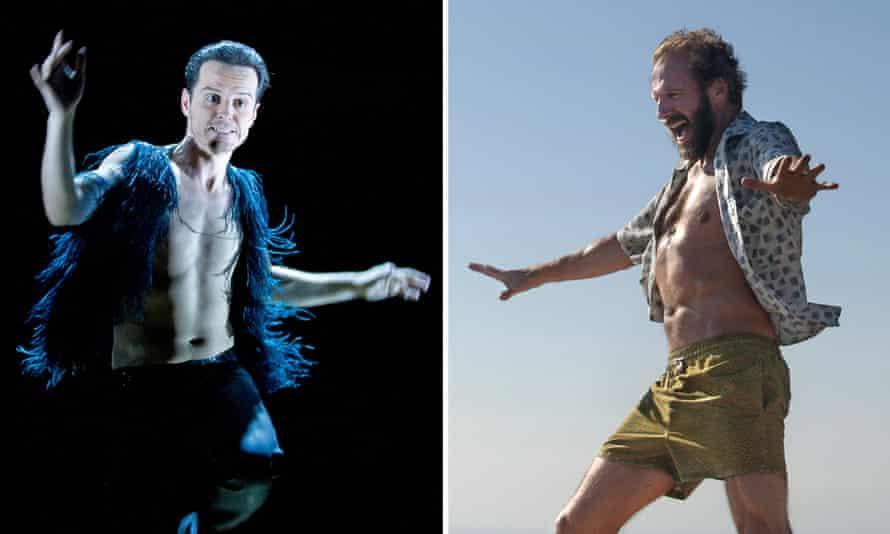 Andrew Scott in Birdland, left, and Ralph Fiennes in A Bigger Splash.