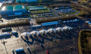 An aerial view of the Etihad tennis centre in Manchester, which is being used as a mass vaccination centre.
