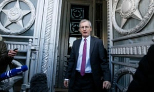 The British ambassador to Russia, Laurie Bristow, leaves leaves the Russian foreign ministry in Moscow.