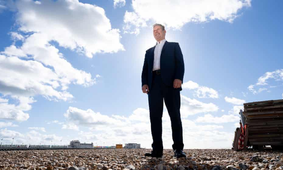 Keir Starmer on Worthing beach, 27 September 2021.