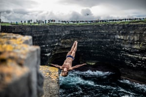Downpatrick Head, Ireland  David Colturi of the US dives from the 27.5 metre (90 feet) rock platform during the first day Red Bull Cliff Diving World Series.