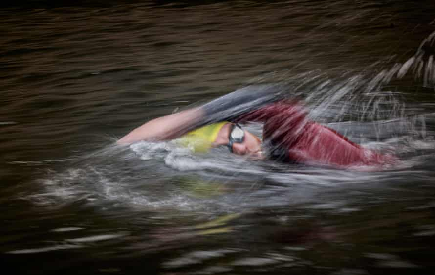 Brian Rimmer, a live-in support worker at Tom Harrison house, completes a swim at the Liverpool Watersports Centre.