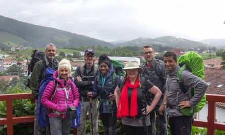 In Saint Jean Pied de Port at the start of their Camino. Neil Morrissey, Debbie McGee, Ed Byrne, Heather Small, Kate Bottley, JJ Chalmers and Raphael Rowe.