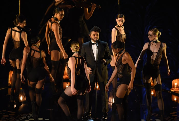 The Weeknd performs his Oscar-nominated song Earned It - Oscars 2016 Images/Pictures