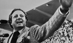 Mário Soares addressing the crowds in Lisbon in April 1975, a year after the carnation revolution that saw the overthrow of the dictator Marcelo Caetano.
