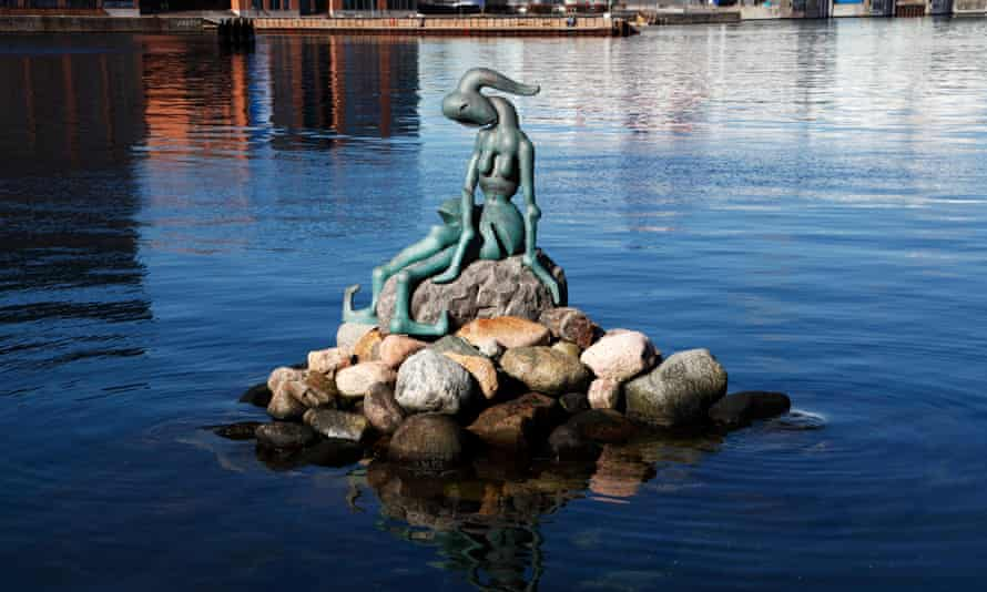 The Genetically Modified Little Mermaid at Pakhuskaj west of Langelinie on a sunny spring day.