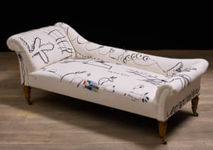 Hope from A Thin Line, 2019 ( antique chaise longue ) by Annie Morris.